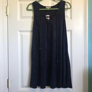 Navy suede dress